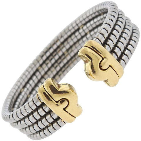 image of Bulgari Parentesi Gold and Steel Cuff Bracelet