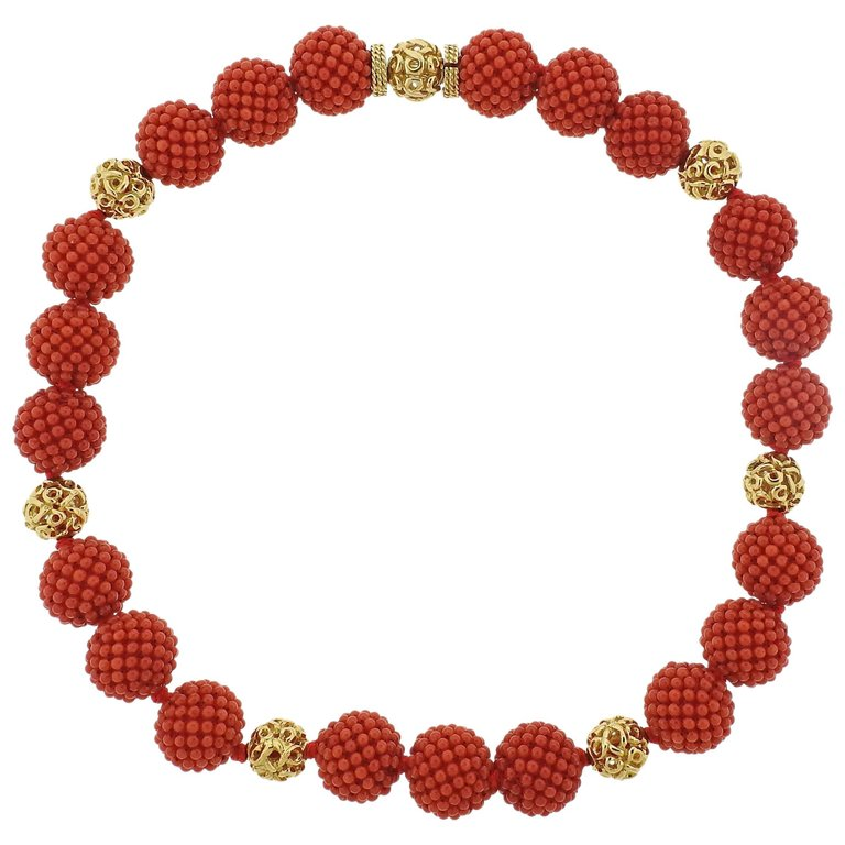thumbnail image of Adria de Haume Coral Gold Necklace