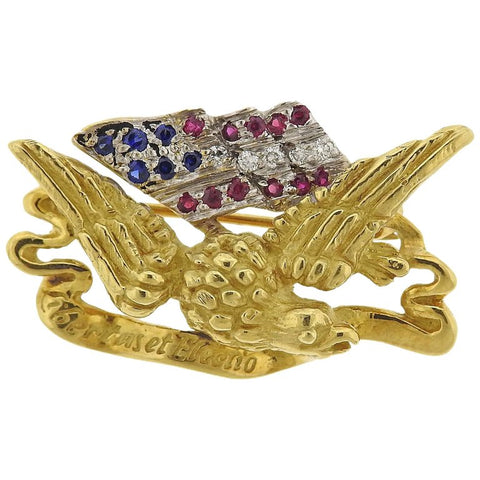 image of Haume Diamond Ruby Sapphire Gold Freedom Eagle American Flag Lapel Pin