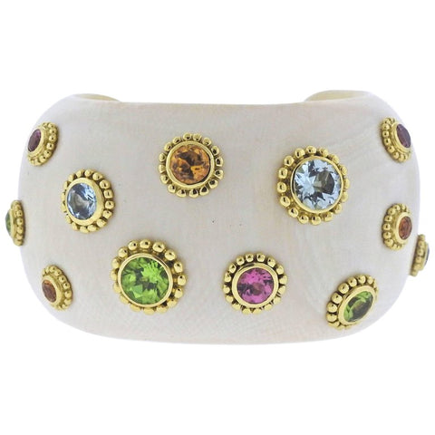 image of Adria De Haume Mammoth Gemstone Gold Cuff Bracelet