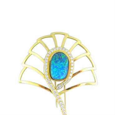 thumbnail image of EGL Certified 11.68ct Black Opal 4.03ct Diamond Brooch
