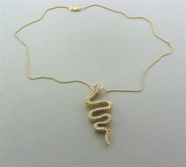 thumbnail image of Sonia B. 14K Gold 1.70ctw Diamond Serpent Snake Pendant Necklace