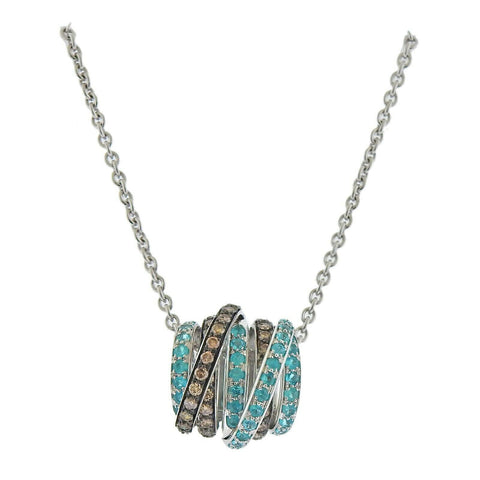 image of De Grisogono Allegra Diamond Paraiba Tourmaline Gold Pendant Necklace