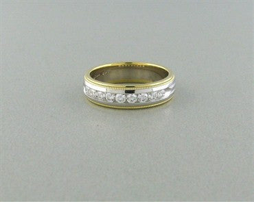 thumbnail image of Hearts On Fire Ladies Duets Two Tone Milgrain Diamond Band Ring