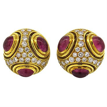 thumbnail image of Pink Tourmaline Diamond 18k Gold Earrings