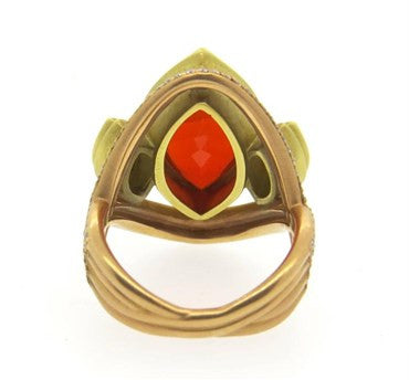 thumbnail image of Impressive Sam Lehr Mexican Fire Opal 2.00ctw Diamond 18k Gold Ring
