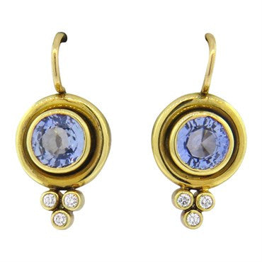 image of Temple St. Clair Sapphire Diamond 18k Gold Earrings