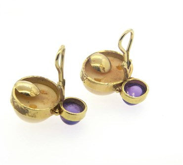 image of 1980s Amethyst Coral 14k Gold Earrings