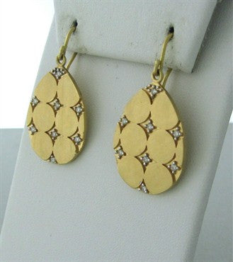 thumbnail image of Designer Signed Shaill 18K Gold Diamond Drop Earrings