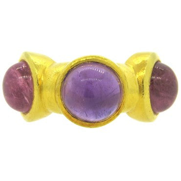 image of Ilias Lalaounis Amethyst Pink Tourmaline Cabochon 18k Gold Ring