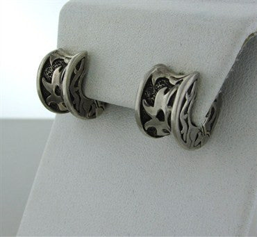 thumbnail image of Estate John Hardy Sterling Silver Wide Huggies Earrings