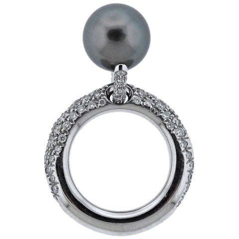 image of Mikimoto Black South Sea Pearl Diamond Gold Ring