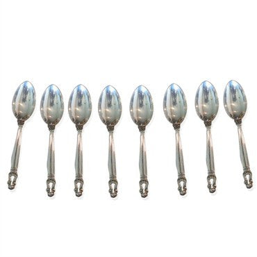 image of Estate 8pc Georg Jensen Acorn Sterling Place Spoon Set
