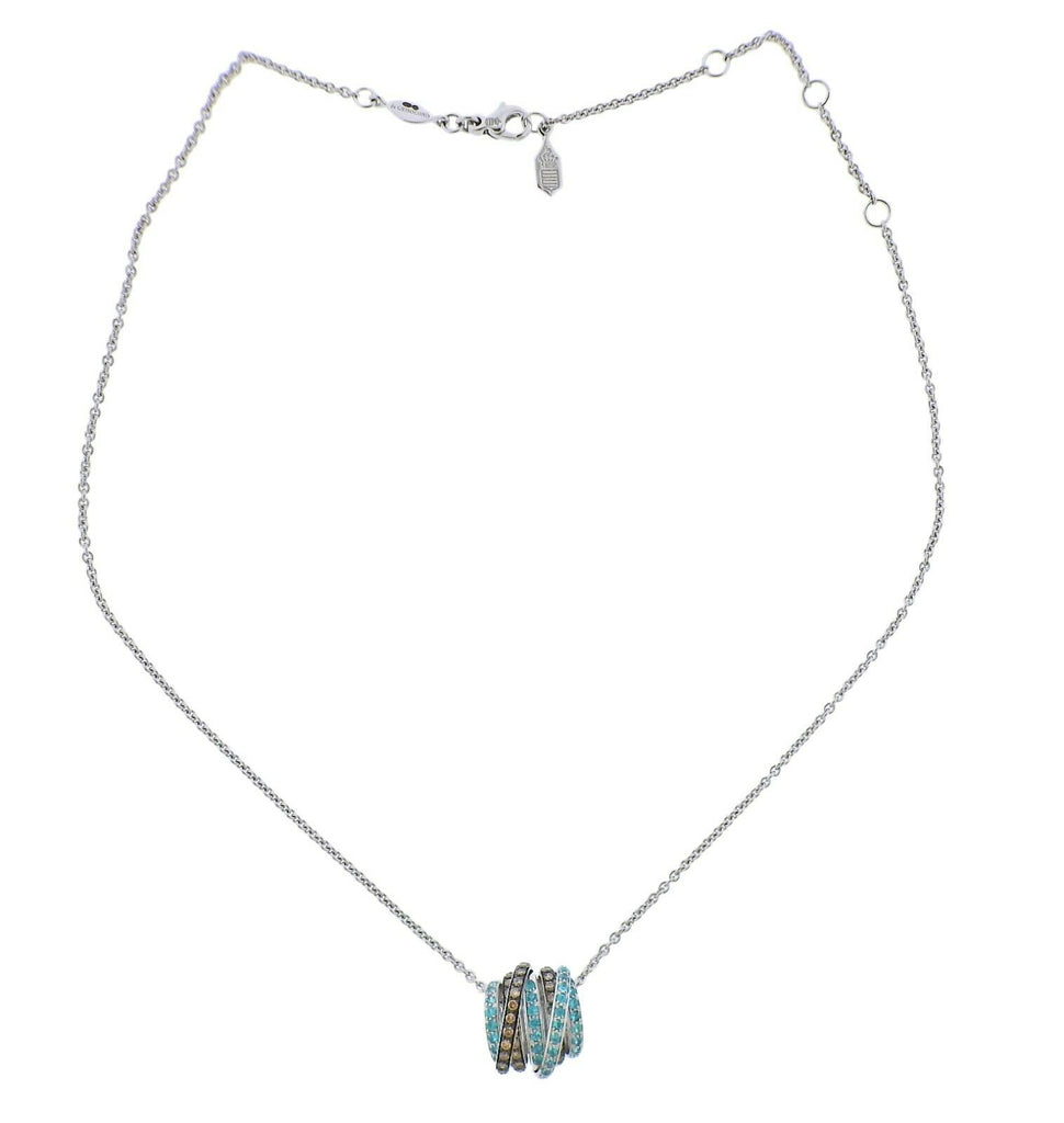 thumbnail image of De Grisogono Allegra Diamond Paraiba Tourmaline Gold Pendant Necklace