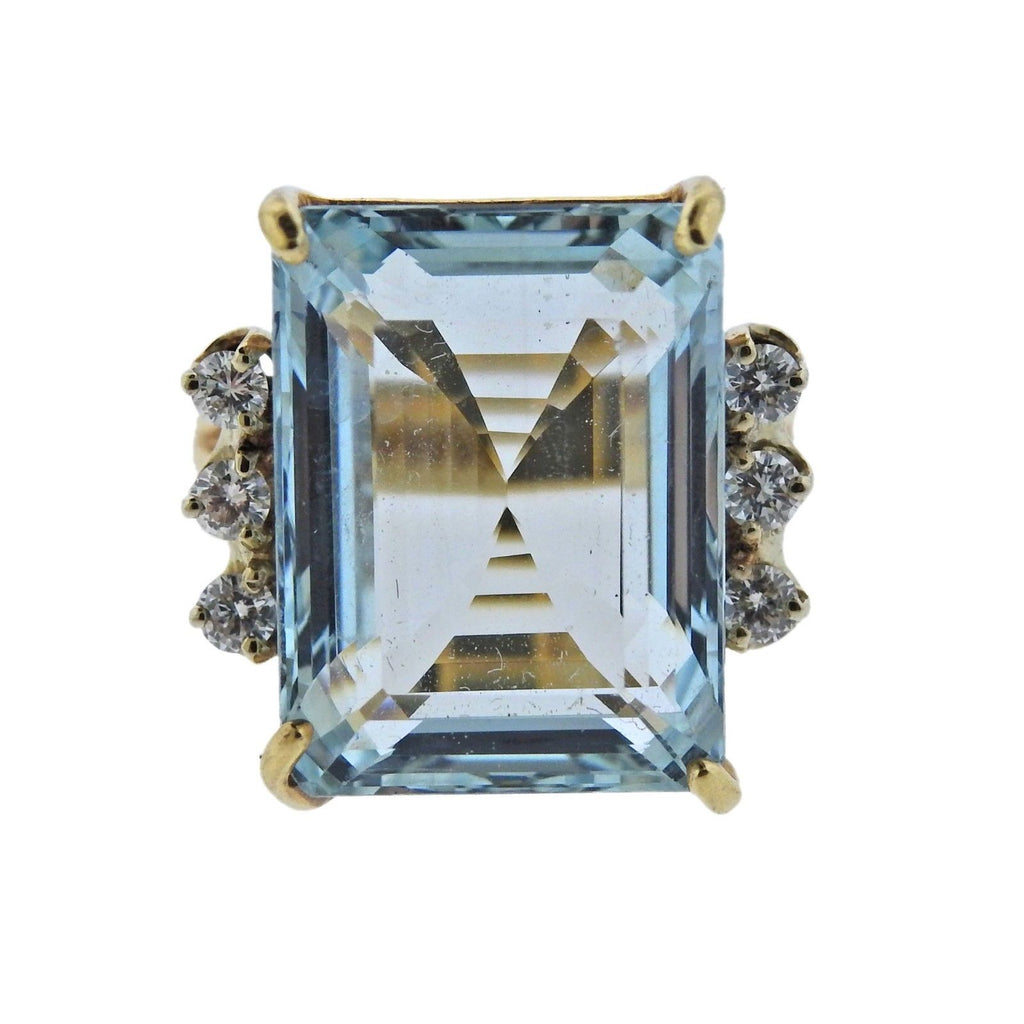 thumbnail image of Mid Century 11.75ct Aquamarine Diamond Gold Ring