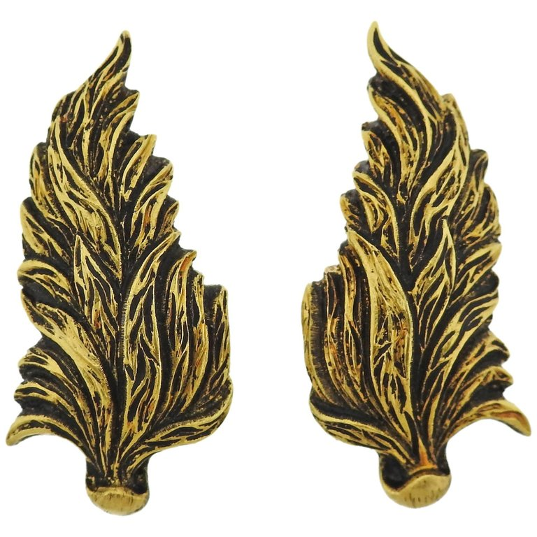 thumbnail image of Buccellati Leaf Motif 18k Gold Earrings