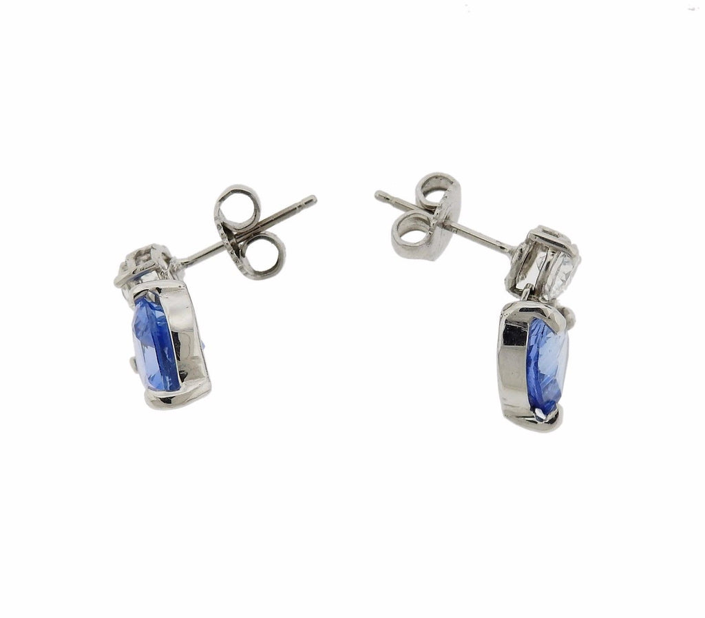 thumbnail image of Platinum 4.90ctw Cornflower Blue Sapphire Diamond Heart Earrings