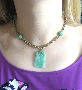 thumbnail image of Mid Century Carved Jade 14k Gold Necklace