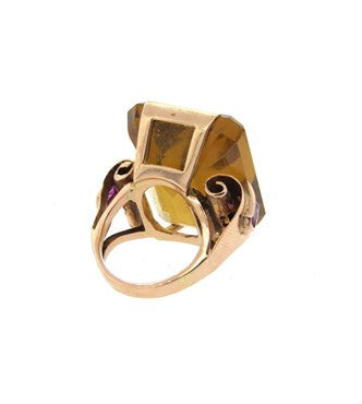 thumbnail image of 1940s Large Citrine Ruby 14k Rose Gold Ring