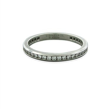 image of Tiffany & Co Channel Set Platinum Diamond Wedding Band Ring