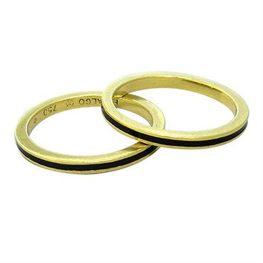 thumbnail image of Hidalgo 18k Gold Black Enamel Stackable 2mm Band Ring Set of 2