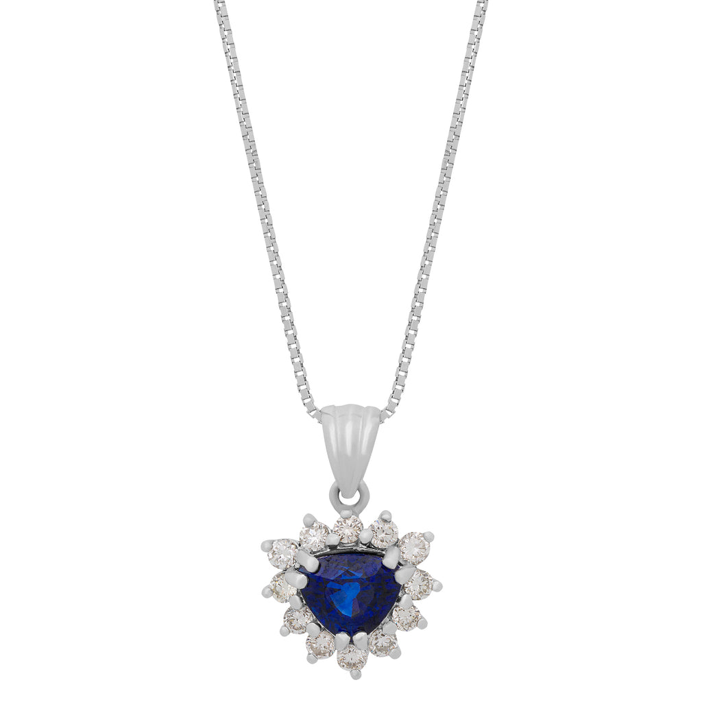 thumbnail image of White Gold Diamond Sapphire Necklace