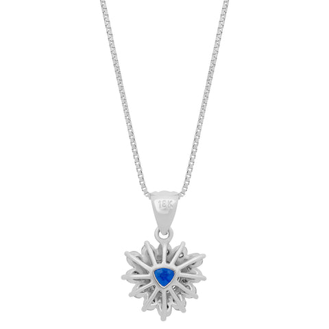 image of White Gold Diamond Sapphire Necklace