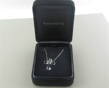thumbnail image of Tiffany & Co Elsa Peretti Platinum Rock Crystal Cross Pendant Necklace