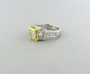 image of Gregg Ruth Platinum 18K Gold Fancy Color 2.41ctw Diamond Ring