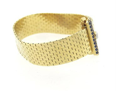 thumbnail image of Retro Tiffany & Co Sapphire Diamond 14k Gold Buckle Bracelet
