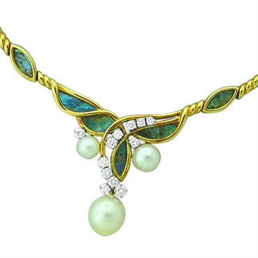 thumbnail image of Gubelin Abalone Pearl 18k Gold Necklace Earrings Set
