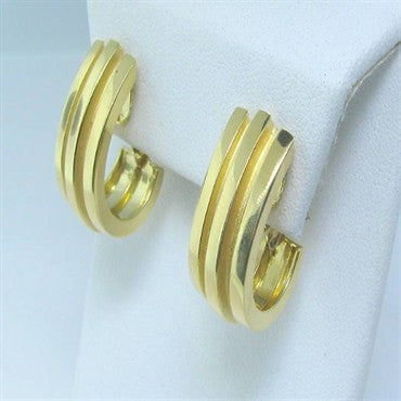 thumbnail image of Estate Vintage Tiffany & Co 18k Gold Half Hoop Earrings