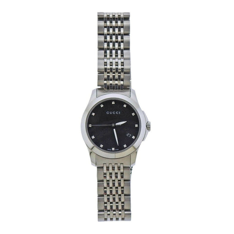 image of Gucci G-Timeless Black Mother of Pearl Diamond Lady's Watch YA126505