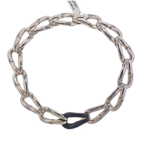 image of John Hardy Sterling Silver Black Enamel Bamboo Link Necklace