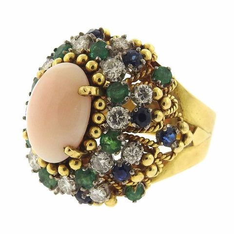 1960s Angel Skin Coral Sapphire Emerald Diamond Gold Ring