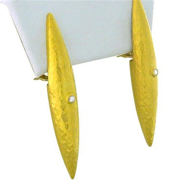 image of Gurhan Funky 24k Gold Diamond Hammered Finish Earrings