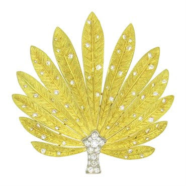 image of Impressive 2.00ctw Diamond 18k Gold Platinum Leaf Brooch