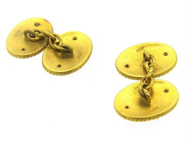 thumbnail image of Antique Benzie Cowes 18k Gold Nautical Enamel Cufflinks