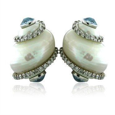 thumbnail image of Seaman Schepps 18K White Gold Aquamarine Diamond Shell Earrings