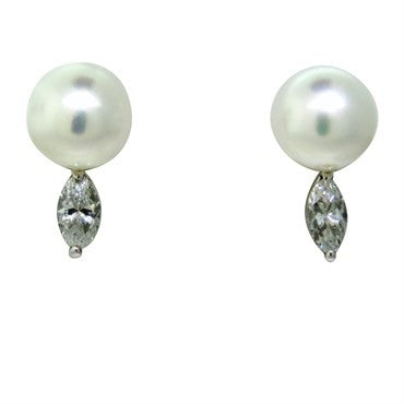 image of Vintage Gold Pearl Diamond Earrings