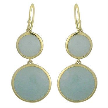 image of New Ippolita 18K Gold Milky Aquamarine Double Round Drop Earrings