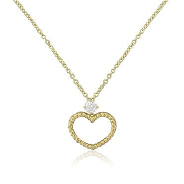 image of New Hearts On Fire Amorous Braided Heart Solitaire Pendant