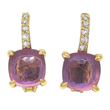 image of New Pomellato Nudo 18k Gold Diamond Amethyst Earrings