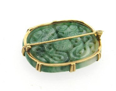 thumbnail image of Antique Carved Jade 14k Gold Brooch Pin