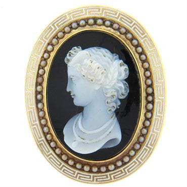 image of 1870s Antique Hardstone Cameo Pearl 18K Gold Brooch Pendant