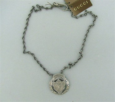 image of Brand New Gucci Sterling Silver Ascot Collar Shield Necklace With Tags