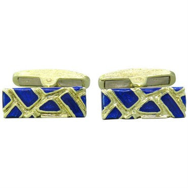 image of 1970s Gold Blue Enamel Cufflinks