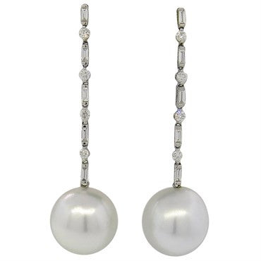 image of South Sea Pearl Diamond Drop 18k Gold Earrings