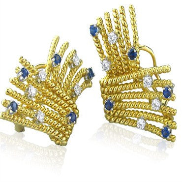 thumbnail image of Tiffany & Co Schlumberger Diamond Sapphire Earrings