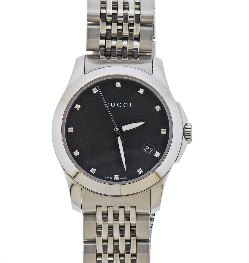 thumbnail image of Gucci G-Timeless Black Mother of Pearl Diamond Lady's Watch YA126505